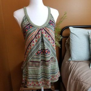•Athleta• Olive Green Boho Print Tank Top